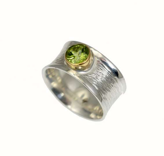 "Sterling Silver ""St Tropez"", with Faceted Peridot Ring -Christin Ranger"
