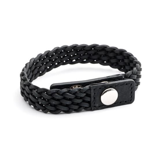 Tribal Steel XO Black Braided Leather Bracelet with Adjustable Stainless Steel Stud Clasp