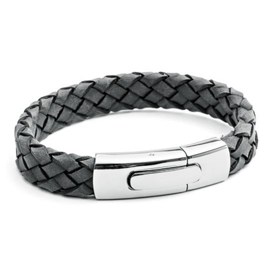 Tribal Steel XO Grey Black Edge Plaited Leather Bracelet with a Matt Stainless Steel Rocker Clasp