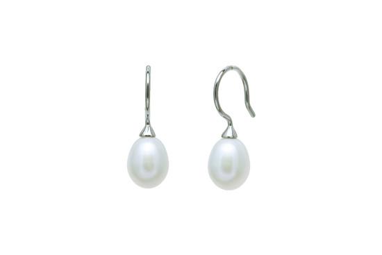 White short drop pearl earrings