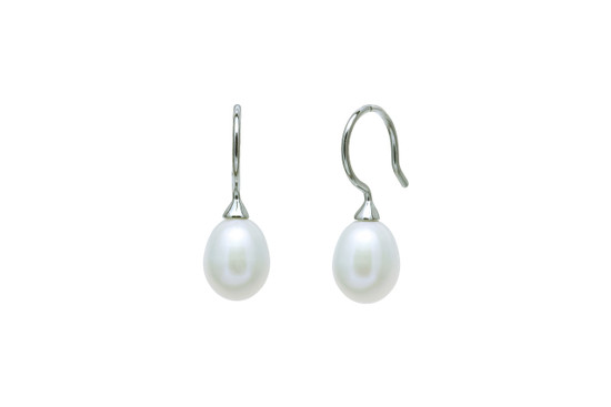 White short drop pearl earrings