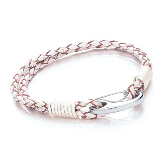 Tribal Steel White Coloured 2 Strand Bracelet with a large Sterling Silver Shrimp Clasp