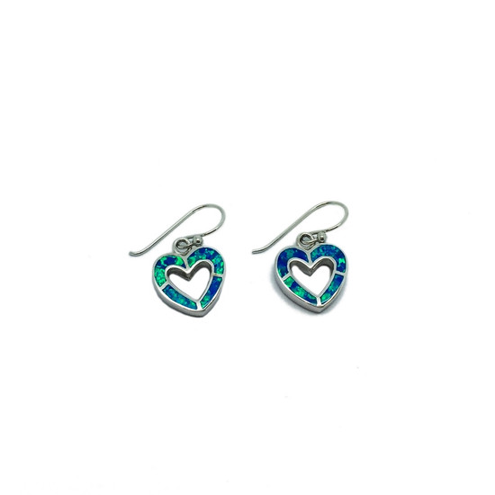 Blue Opalique Heart Earrings