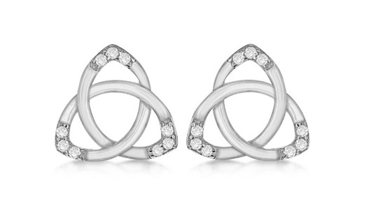 Sterling Silver & CZ Stud Earrings