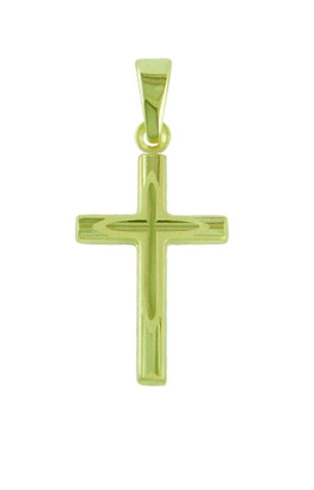 A  9ct gold cross with inner cross detail. Outer part of the cross is polished to resemble a wood pattern.  Unusual and very beautiful.