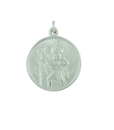 9ct White Small Circular St Christopher