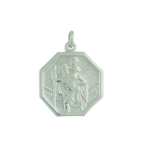 9ct White Small Octagonal St Christopher