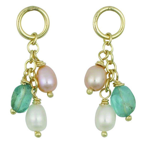 9ct Yellow Design Bead and Pearl Dropper Earrings
