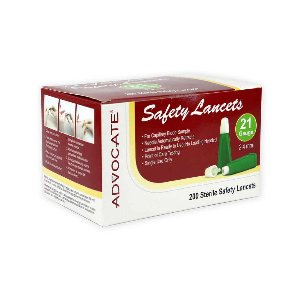 ADVOCATE Safety Lancets - 21G x 2.4mm 200/box