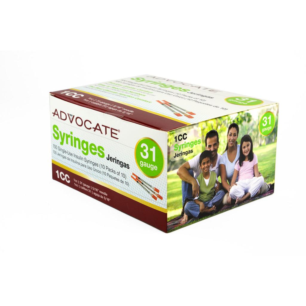 "Advocate Syringes 31G 1cc 5/16"" 100/box (894046001684)"
