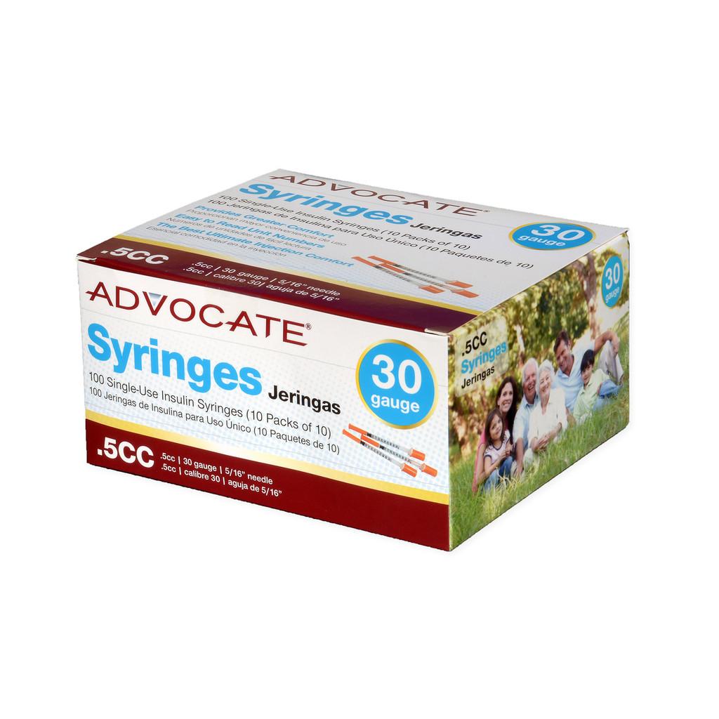 "Advocate Insulin Syringe 30G  0.5cc  5/16"""