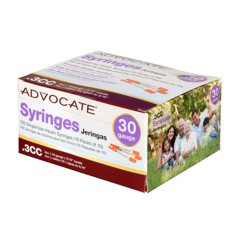 "Advocate Syringes 30G .3cc 5/16"" 100/box (894046001660)"