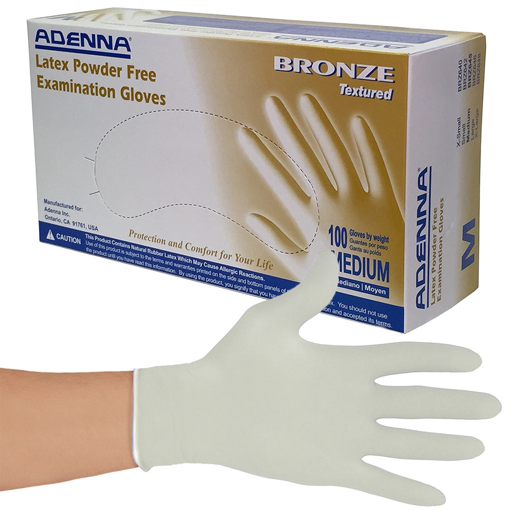 Medium Latex Powder-Free Bronze Exam Gloves 100/Box (653195276455)