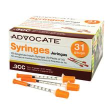 "Advocate Syringes 31G .3cc 5/16"" 100/box (894046001721)"