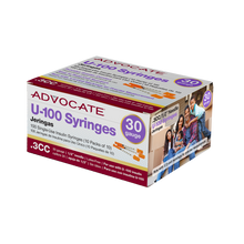 "Advocate U-100 Insulin Syringes 30G .3cc 1/2"" 100/box (852982006682)"