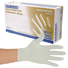 Small Latex Powder-Free Bronze Exam Gloves 100/Box (605779975889)