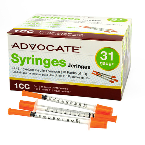 "Advocate Syringes 31G 1cc 5/16"" 100/box (894046001684)"