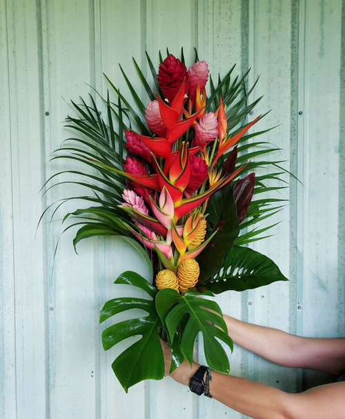 This extraordinary arrangement will surely impress, and it comes already arranged! All you have to do is remove it from the box and place it in a vase. Arrangement is between 36 and 40 inches in height and features two elegant heliconia surrounded by gingers, tropics, anthuriums, and other exotics for a total of 30 stems.