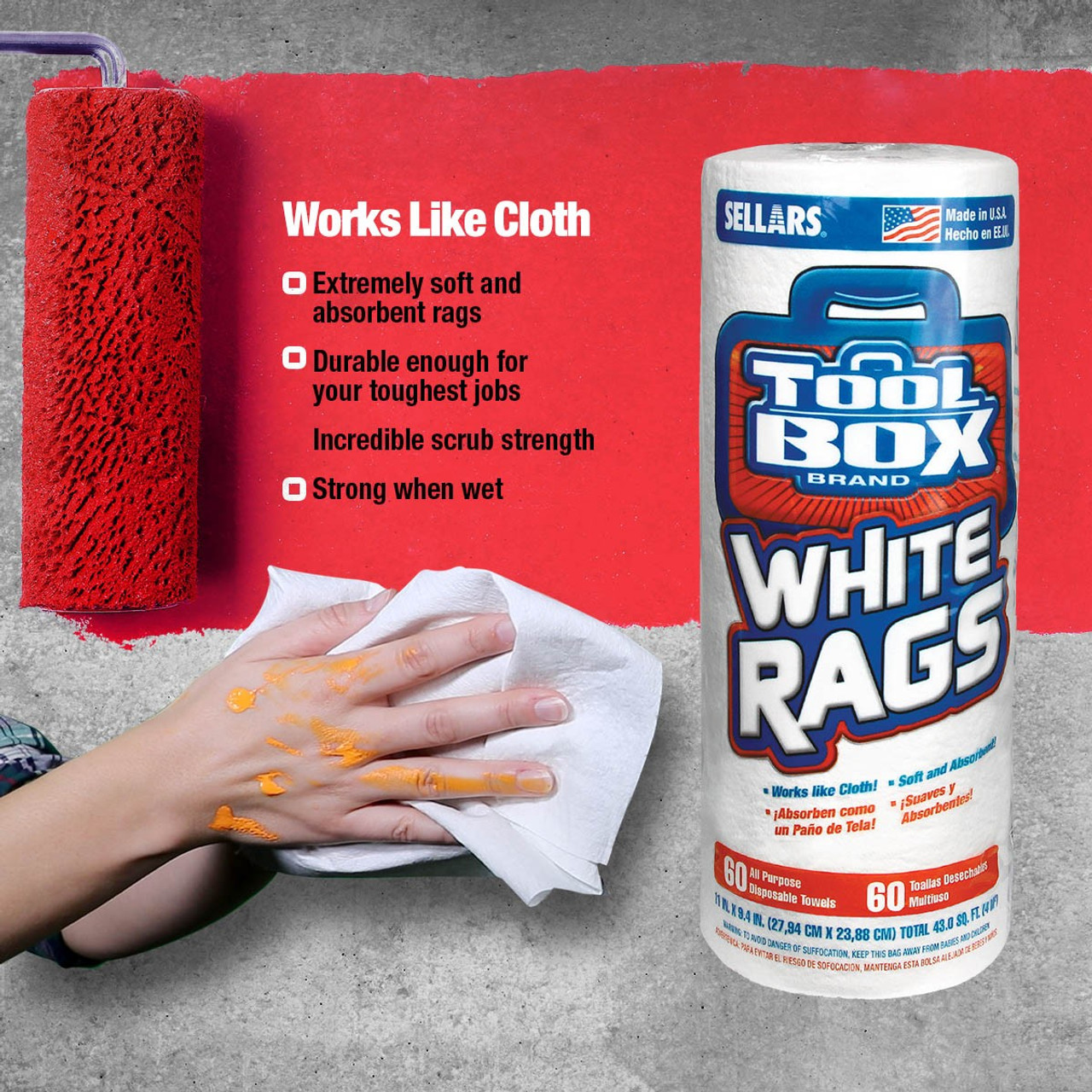 TOOLBOX® White Rags 60ct Single Roll