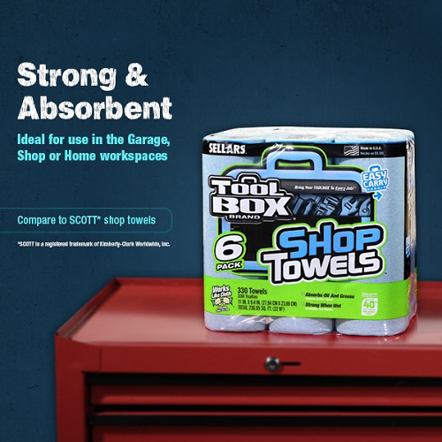 TOOLBOX® Z400 Roll of Shop Towels 6-Pack