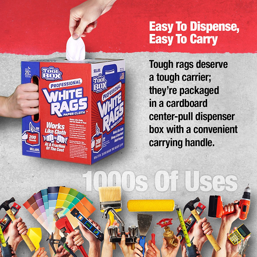 - TOOLBOX® white rags are up to 3x stronger when wet than the leading kitchen towel brand - Works like cloth