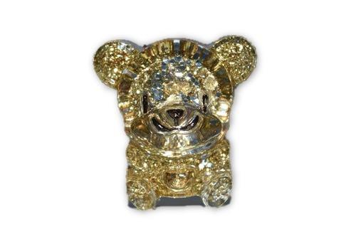 Yellow Bear Mini Orgone Decor1 pc -Quartz Crystal, Pyrite, Blue Kyanite