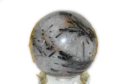 1 lb 13.9 oz Black Tourmaline Rutilated Quartz Crystal