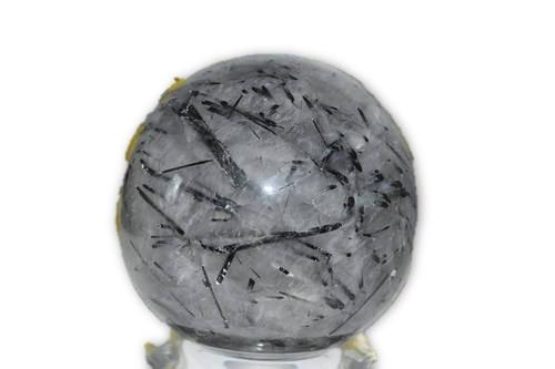 1 lb 12.4 oz Black Tourmaline Rutilated Quartz Crystal