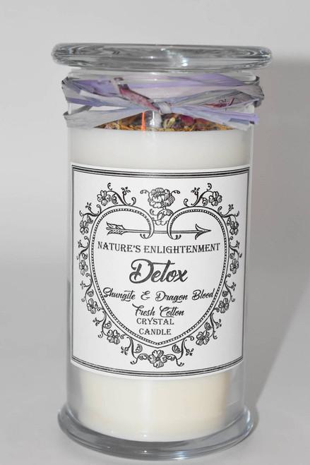 Detox Crystal Candle- Handmade Soy Candle- Elite Noble Shungite Crystal & Dragon Blood Crystal-