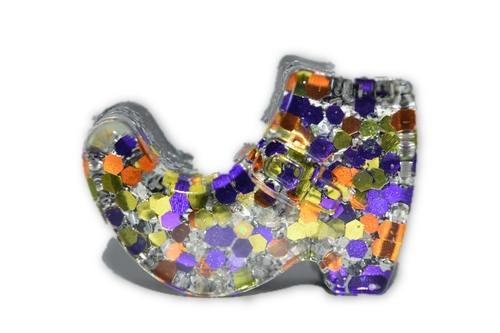 Orgone Mini Witch Shoe-Quartz Crystal, Pyrite, Blue Kyanite- Halloween Decor