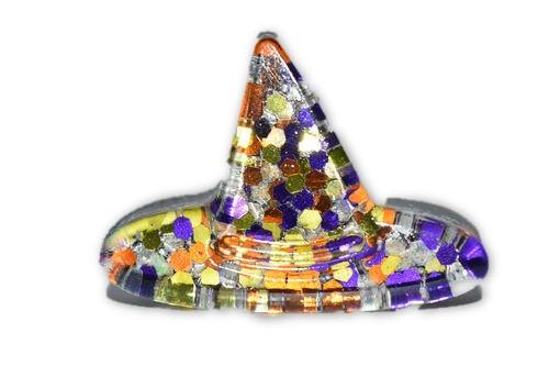 Orgone Mini Witch Hat -Quartz Crystal, Pyrite, Blue Kyanite- Halloween Decor