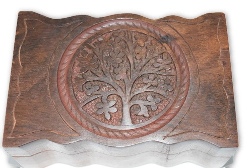 Tree of Life Carved Wooden Box-  Crystals, Altar Supplies, Gift Giving