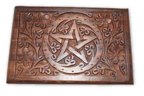 Pentacle Carved Wooden Box #2- Tarot Cards, Crystals, Altar Supplies,