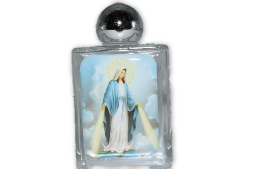 Our Lady of Grace Glass Holy Water Bottle- 1pc- Empty Holy Water Bottle
