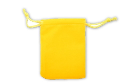 Bright Yellow Velvet Pouch 2 pc. - Crystal Carrying Bag, Bag, Pouch