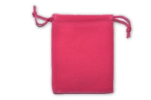 Rose Pink Velvet Pouch 2 pc. - Crystal Carrying Bag, Bag, Pouch