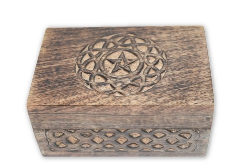 Pentacle Carved Wooden Box #3- Tarot Cards, Crystals, Altar Supplies, Gift Giving