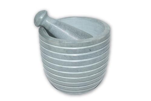 Grey Striped Mortar & Pestle