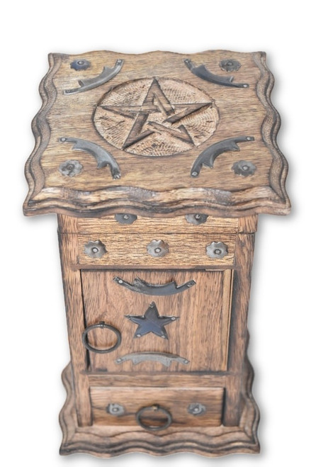 Pentacle Wooden Carved & Metal Chest- Tarot Cards, Crystals, Altar Supplies, Gift Giving