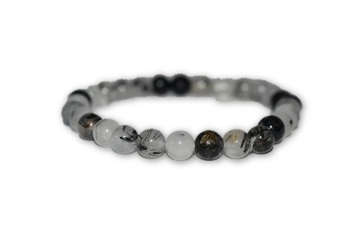 6mm Black Tourmaline Rutilated Quartz Crystal Bracelet