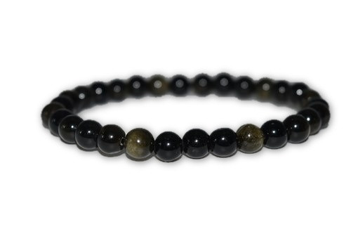 6mm Black Obsidian Crystal Bracelet