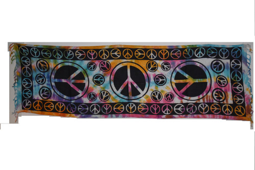 Peace Colorful Tie Dye Tapestry- Altar Cloth, Sarong, Stole, Scarf, Headwrap, Pentacle