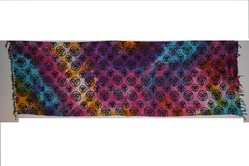 Triquetra Colorful Tie Dye Tapestry- Altar Cloth, Sarong, Stole, Scarf, Headwrap, Pentacle