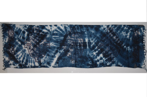 Celtic Cross Navy and White Tie Dye Tapestry- Altar Cloth, Sarong, Stole, Scarf, Headwrap, Pentacle