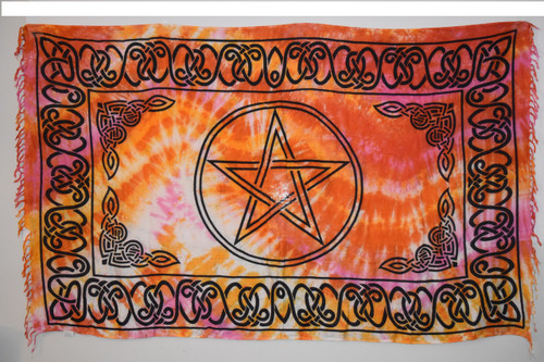 Pentacle Tie Dye Star Tapestry Red & Orange - Altar Cloth, Sarong, Stole, Scarf, Headwrap, Pentacle