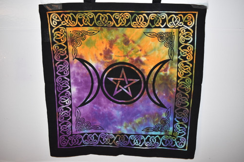 Pentacle Triple Moon Tote Bag  - Tie Dye - Tote Bag - Cloth Bag