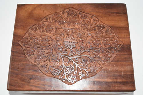 Extra Large Floral Engraved Wood Box - Tarot Cards, Crystals, Altar Supplies, Gift Giving