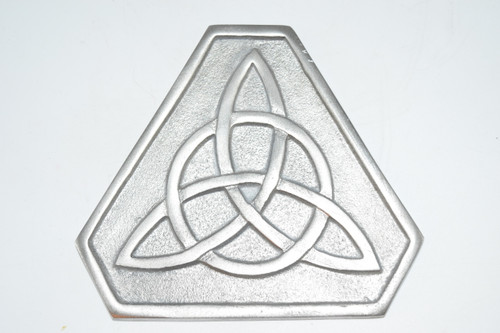 "Triquetra Silver Plated Solid Brass 5"" - Altar Tile - Altar Tile , Coaster,  Altar Supplies, Gift Giving, Decor"