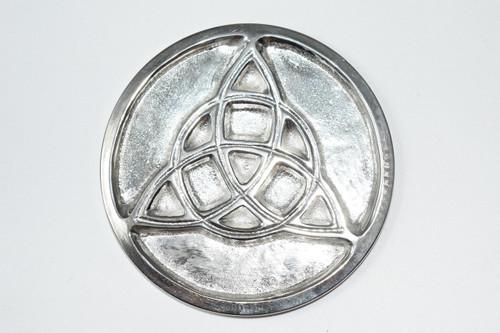 "Triquetra Silver Plated Solid Brass 3"" - Altar Tile - Altar Tile, Coaster, Altar Supplies,  Gift Giving, Decor"