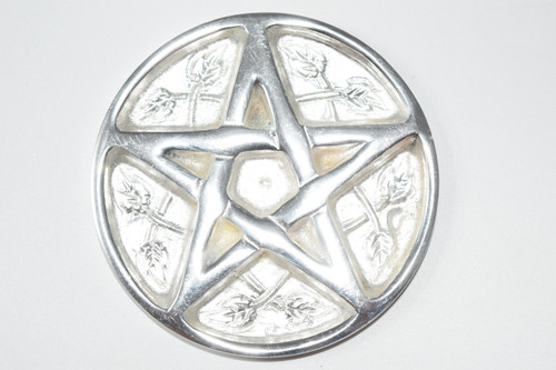 "Star Pentacle Silver Plated Solid Brass 3"" - Altar Tile - Altar Tile, Coaster, Altar Supplies, Gift Giving, Decor"